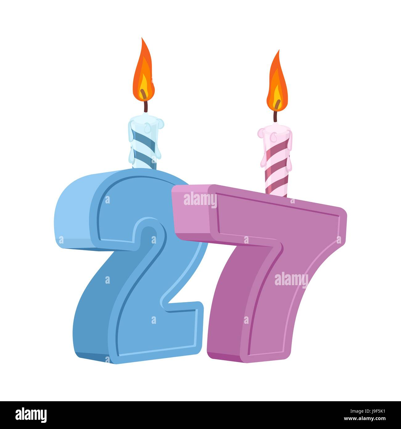 27 years birthday number with festive candle for holiday cake stock 27 years birthday number with festive candle for holiday cake twenty seven anniversary biocorpaavc Images