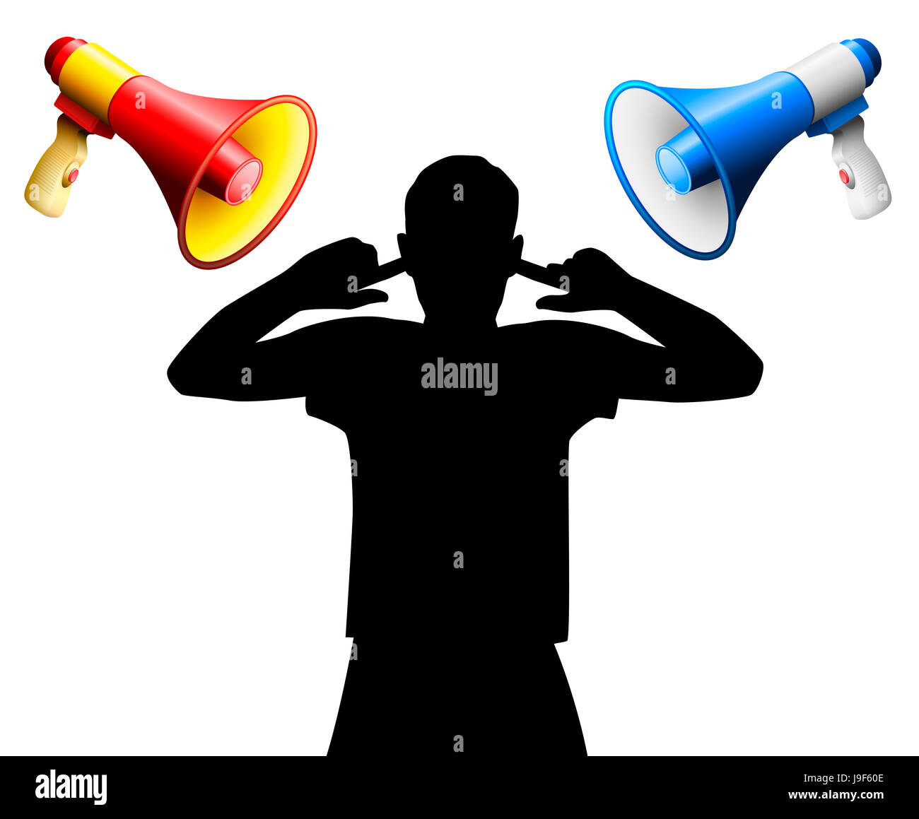 Noise disturbance by two loud megaphones yelling at an annoyed person who covers the ears, to avoid hearing damage, - Stock Image