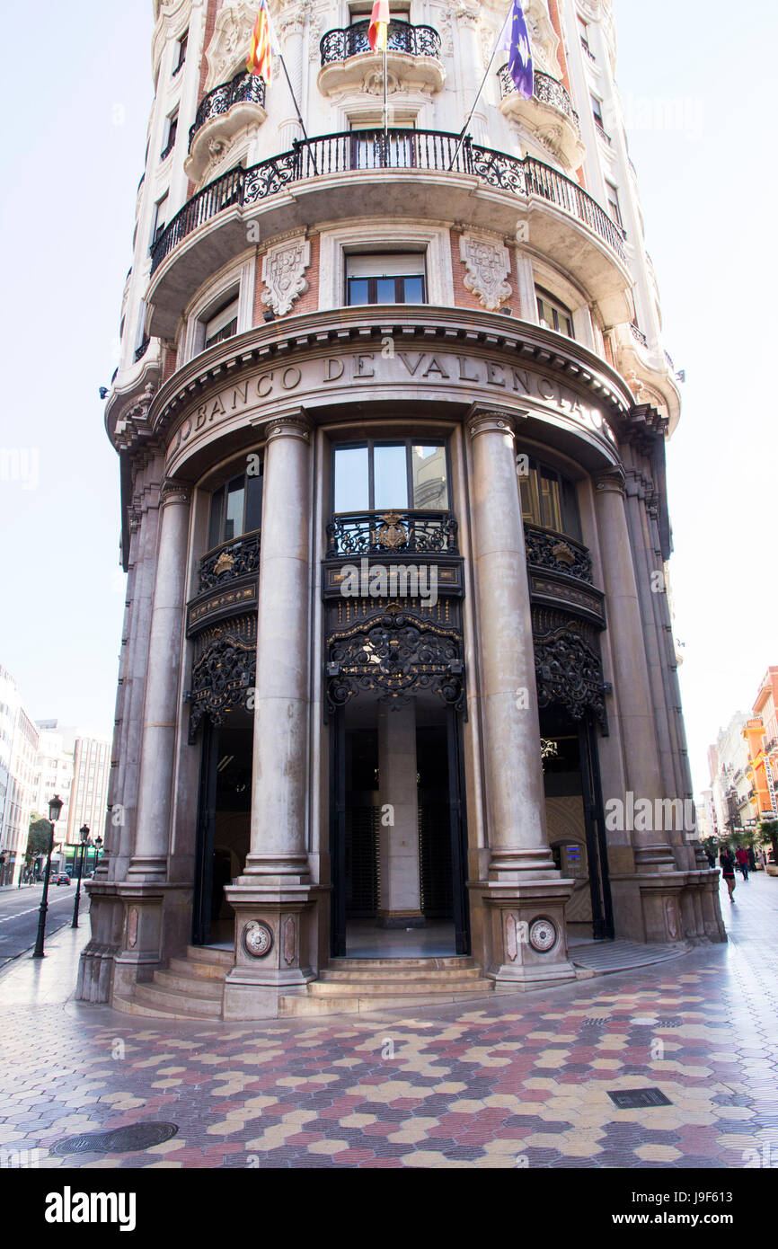 Banco de Valencia is a banking institution with 427 branches mainly located in the Valencian community.  It was - Stock Image