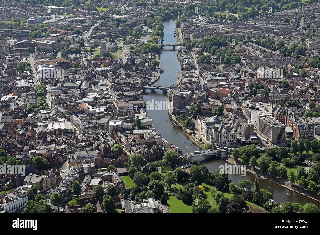 aerial view of the River Ouse & York city centre, UK - Stock Image