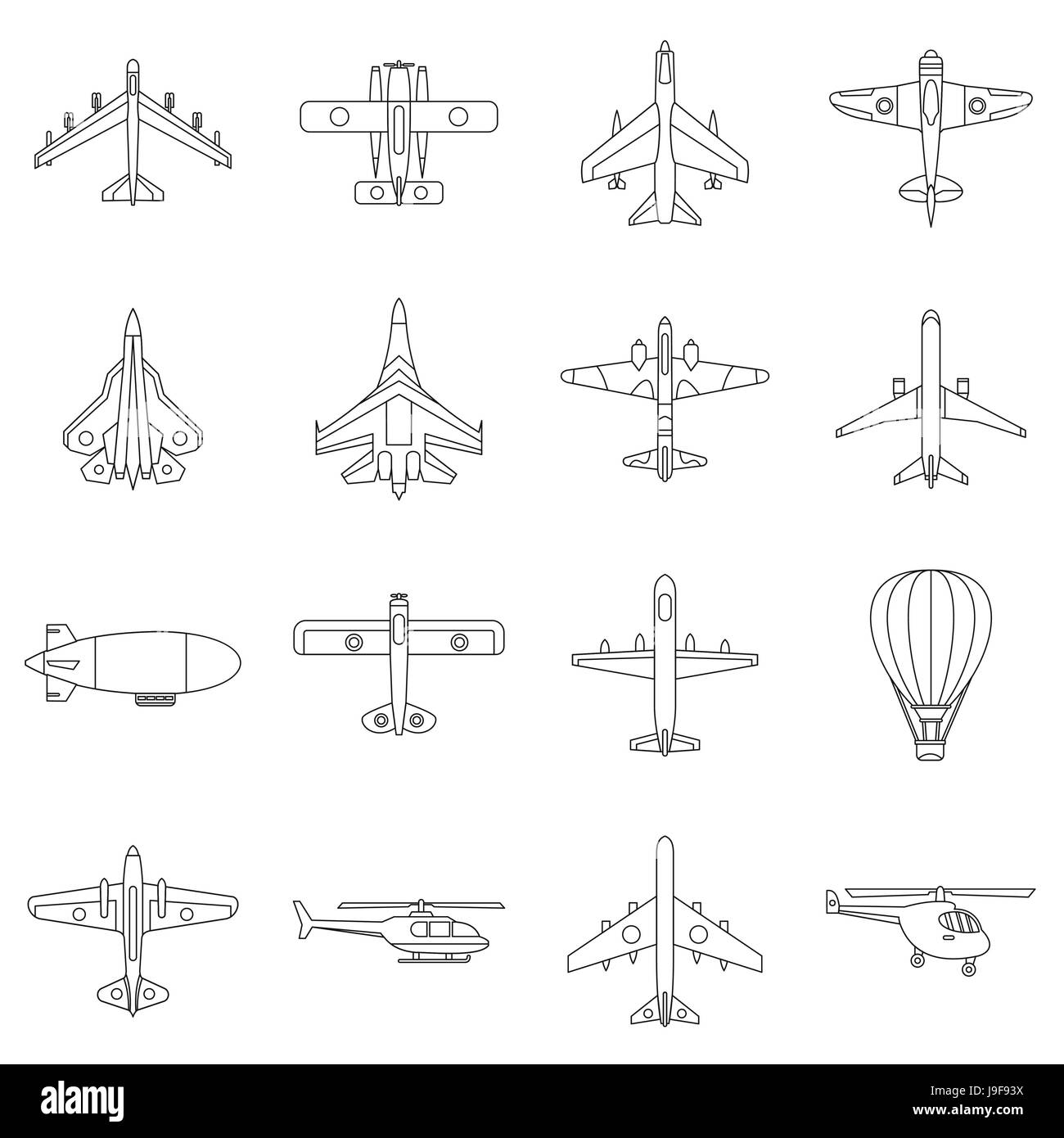 Aviation icons set, outline style - Stock Image