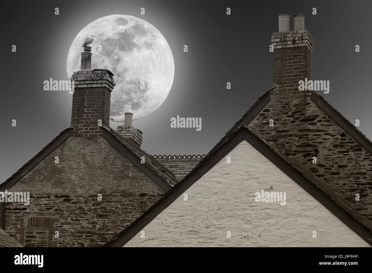 A night of full moon over the chimneys of the houses - Stock Image