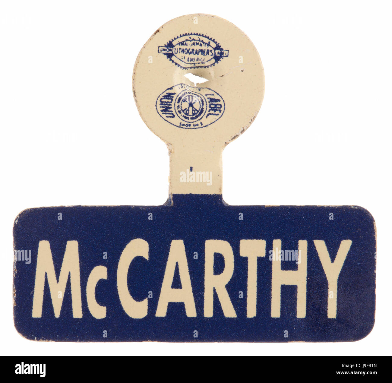 A metal blue and white lapel tab for Minnesota DFL candidate Eugene McCarthy - Stock Image