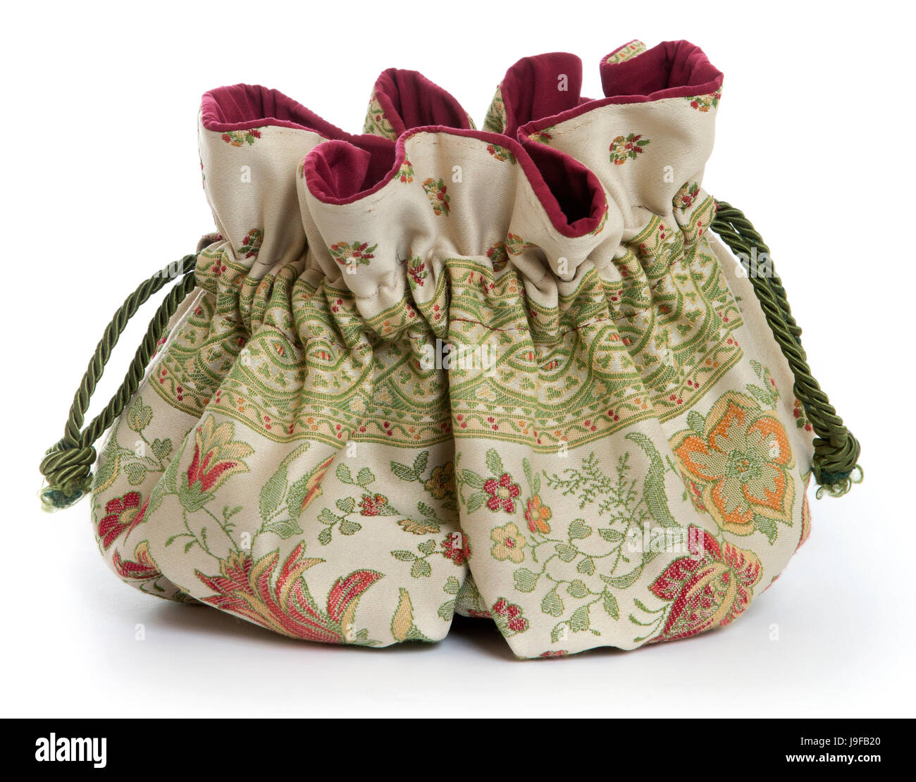 A handmade Venetian Reticule (a small embroidered woman's handbag).  This type of purse was used mainly from 1795 - Stock Image
