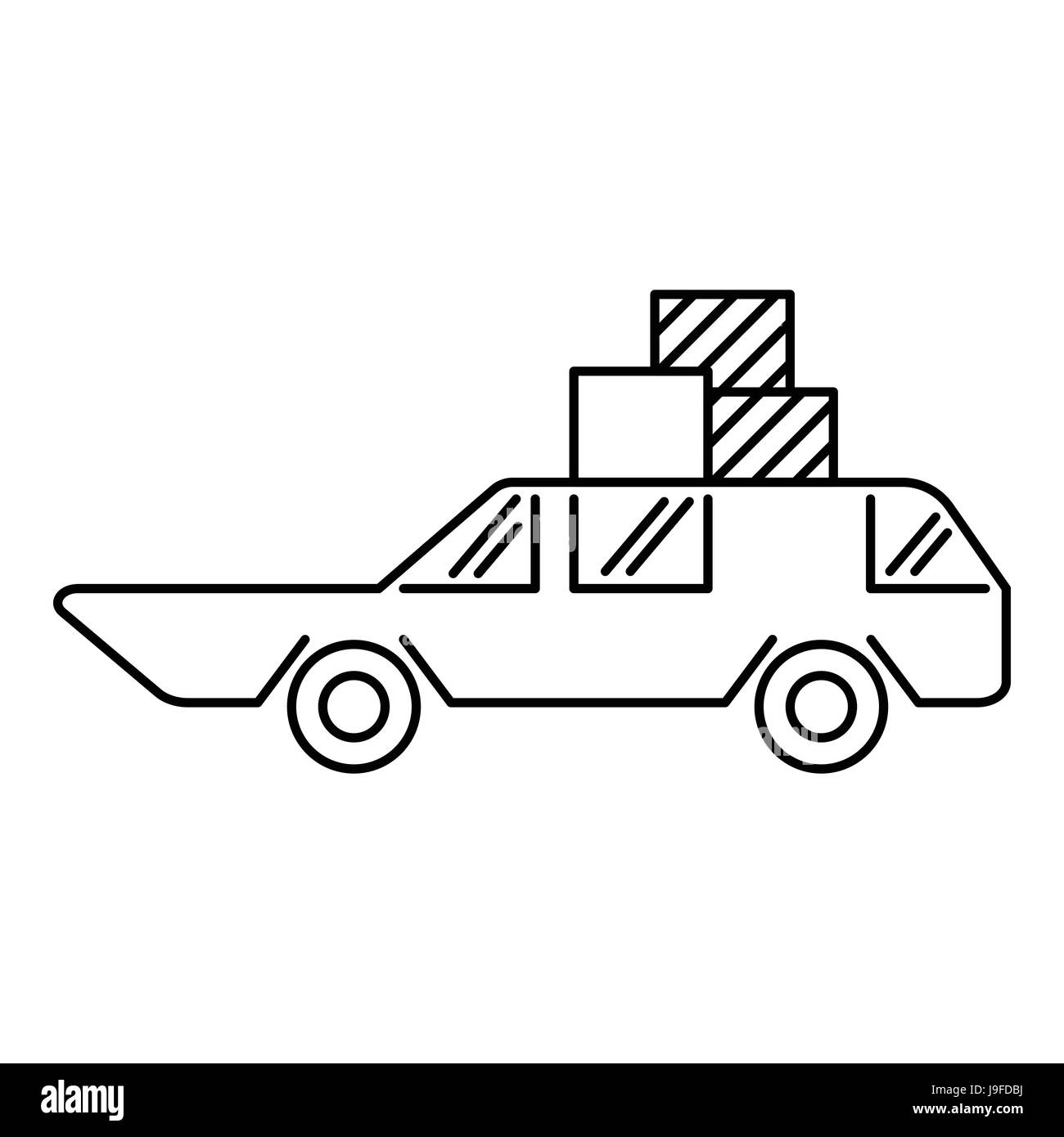 Hatchback with boxes icon, outline style - Stock Image