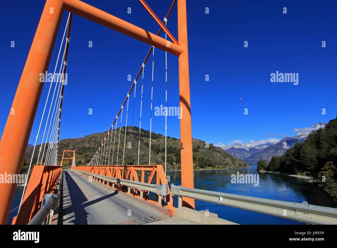 General Carrera Bridge, Bertrand Lake, Carretera Austral Chile - Stock Image