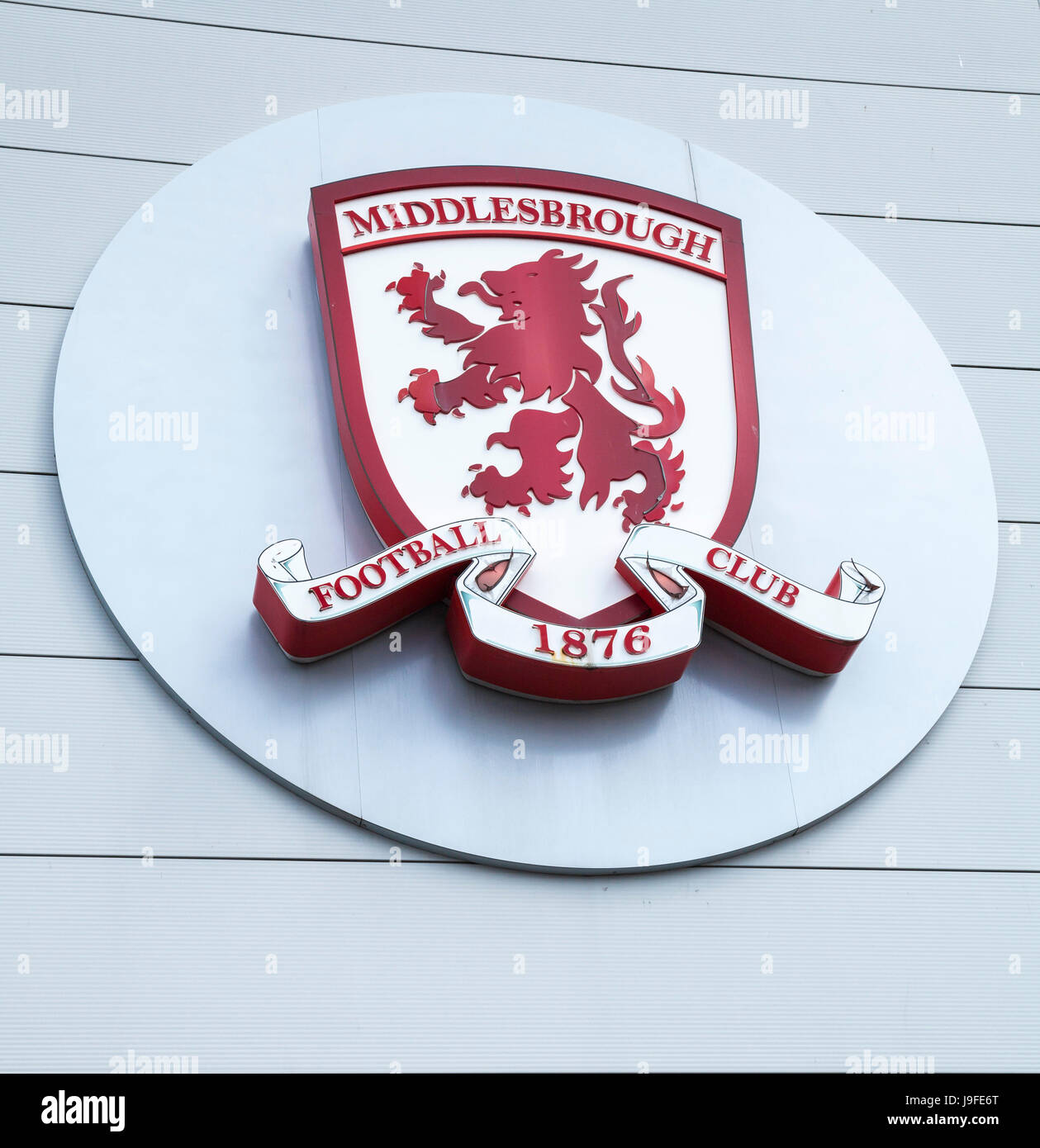 Close up of the club badge of Middlesbrough Football Club,England,UK - Stock Image