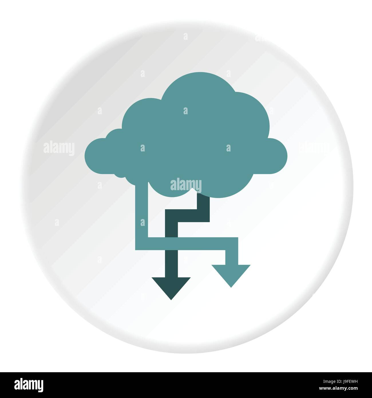 Storing files in cloud icon, flat style - Stock Image
