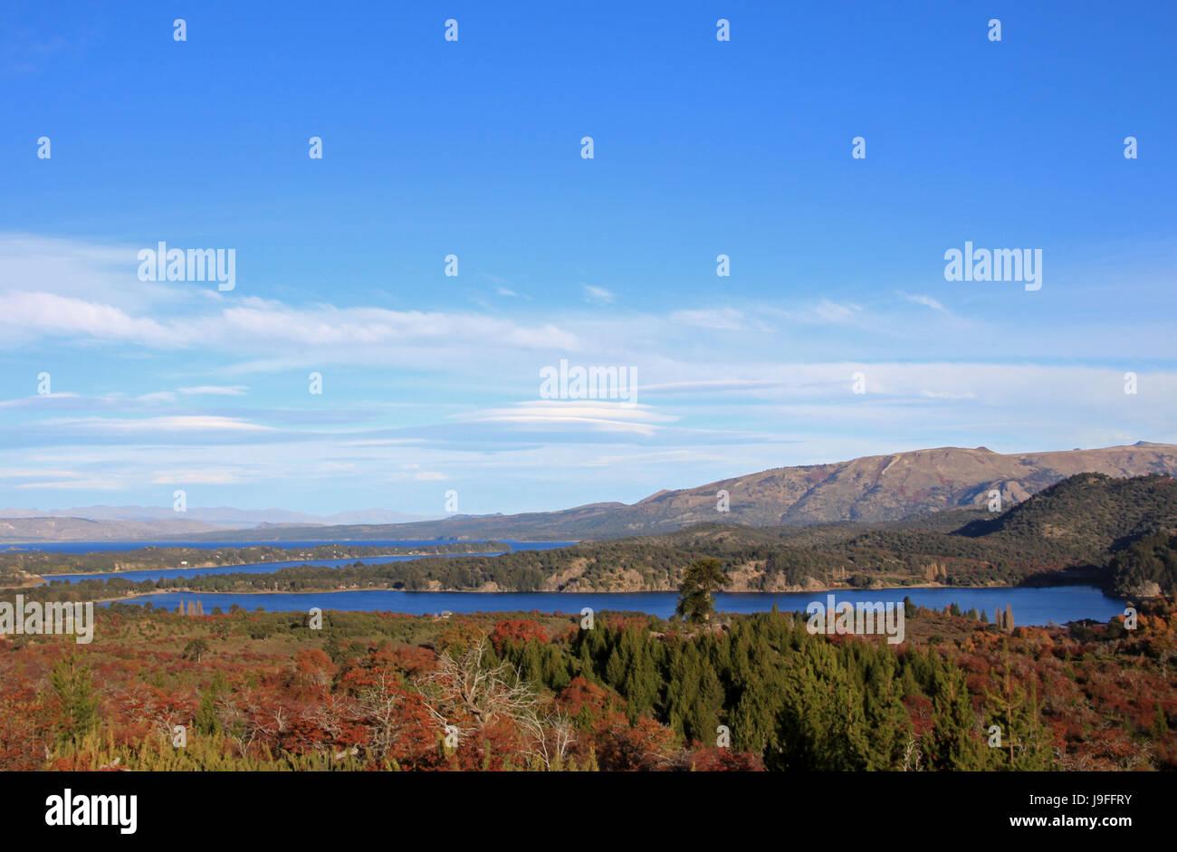 Alumine Lake, autumn colors, Patagonia Neuquen Argentina - Stock Image