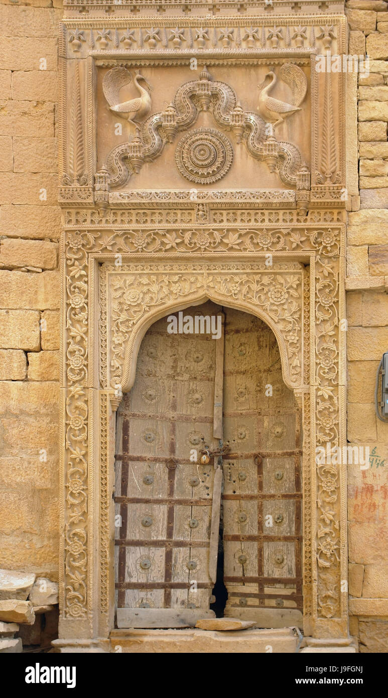 house, building, city, town, stone, india, sandstone, style of Stock
