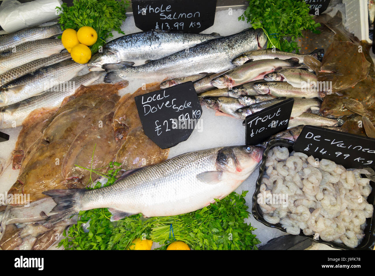 Selection of wet fish / mackerel / salmon / shrimps / shrimps, all freshly caught landed, for sale at fish stall - Stock Image