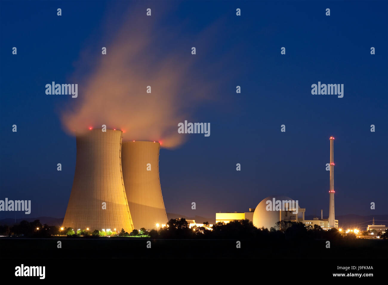 power station, night, nighttime, energy, power, electricity, electric power, - Stock Image