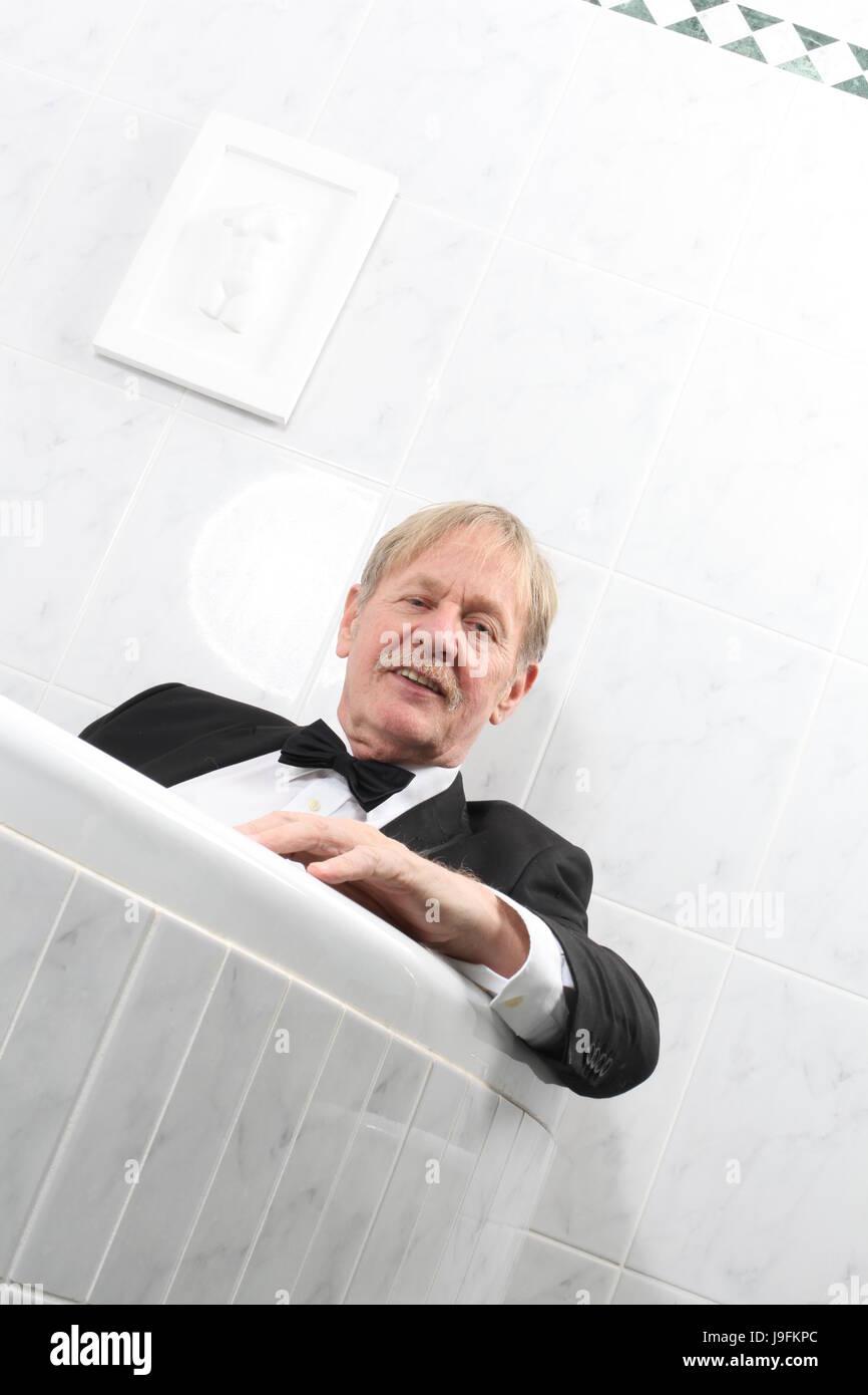 Lie, Lying, Lies, Bath Tub, Tub, Bathtub, Tuxedo, Put, Sitting, Sit, Suit,  Man,