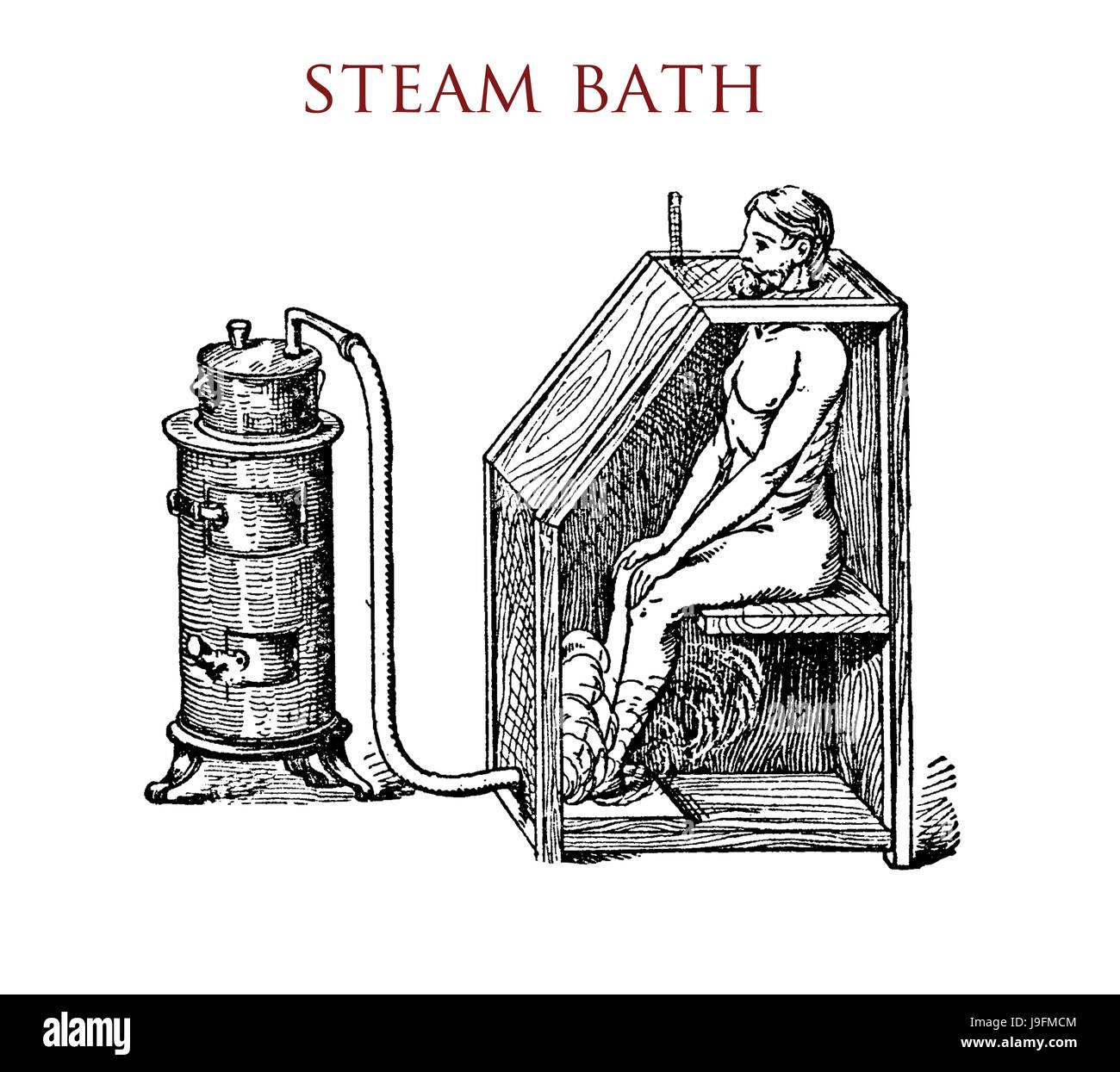 Full-body steam bath device, vintage illustration - Stock Image