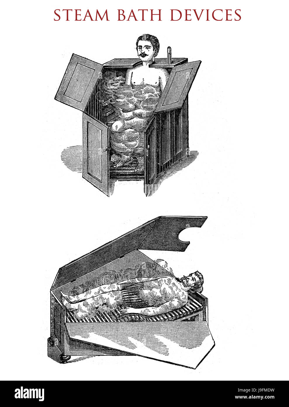 Steam bath devices - sitting and lying,vintage illustration Stock Photo