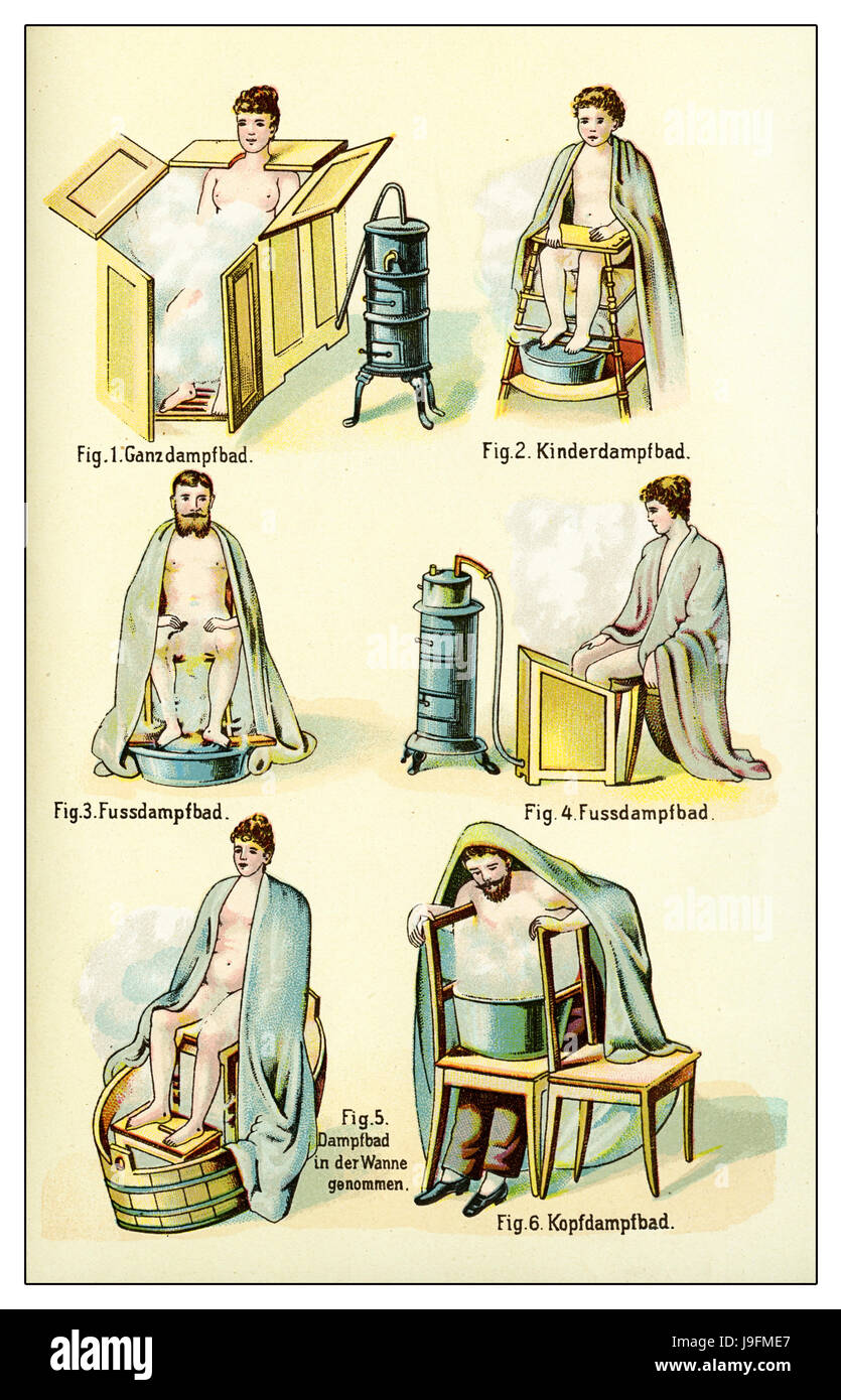 Various kinds of steam bath,vintage illustration Stock Photo