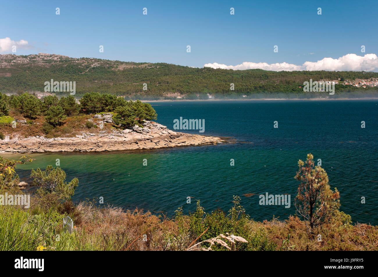 Coastal view, Muros, La Coruna province, Region of Galicia, Spain, Europe - Stock Image