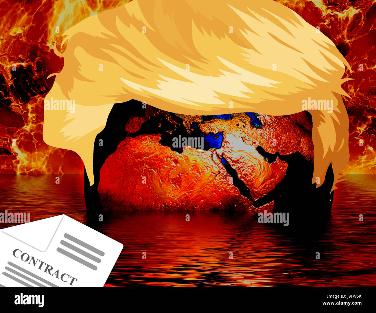 Trump hair over the Globe with Global Warming Flames, melting water and a climate contract - Stock Image