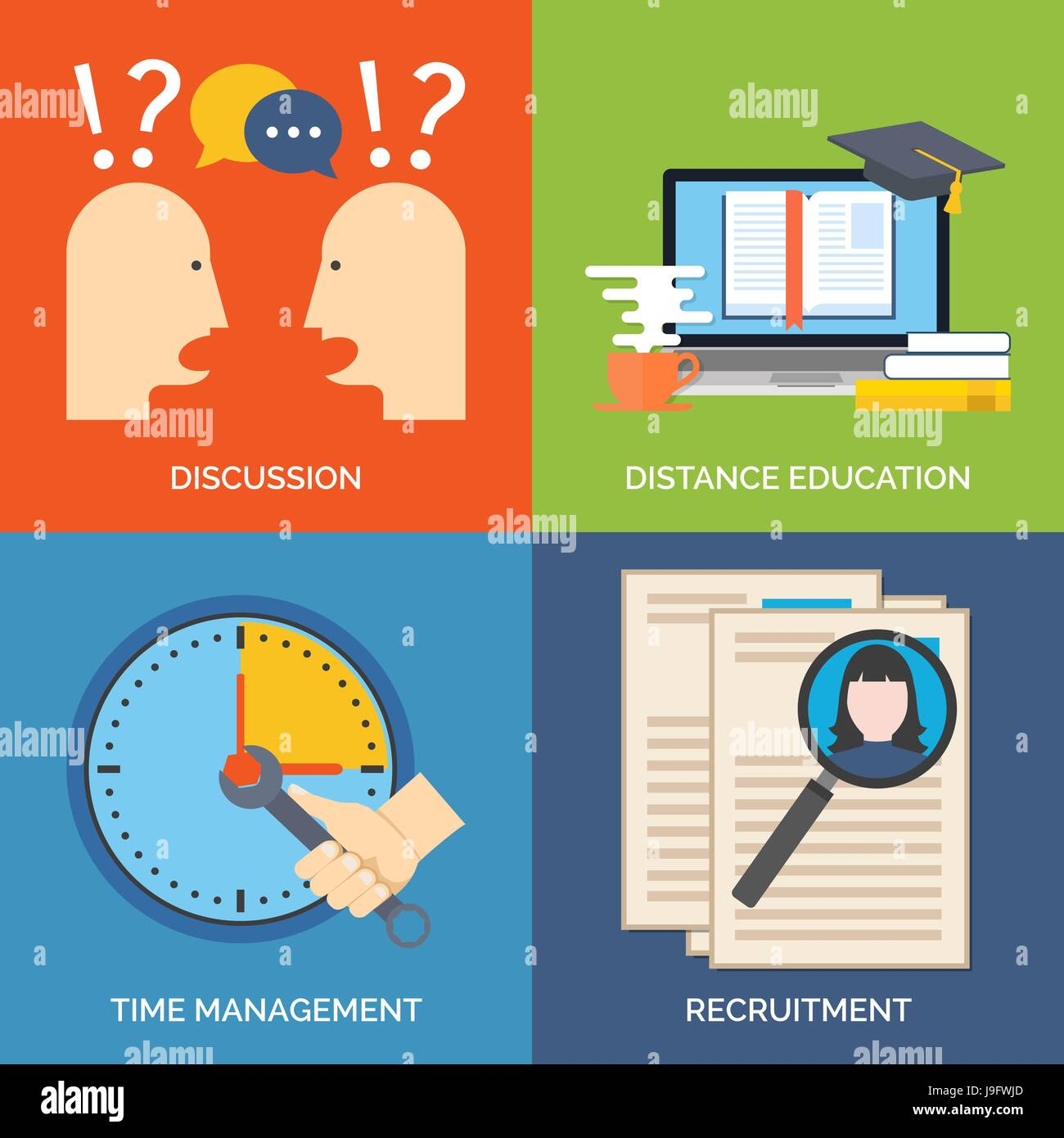 Set of flat design concept icons for business. Discussion, Distance education, Time management and Recruitment. - Stock Vector