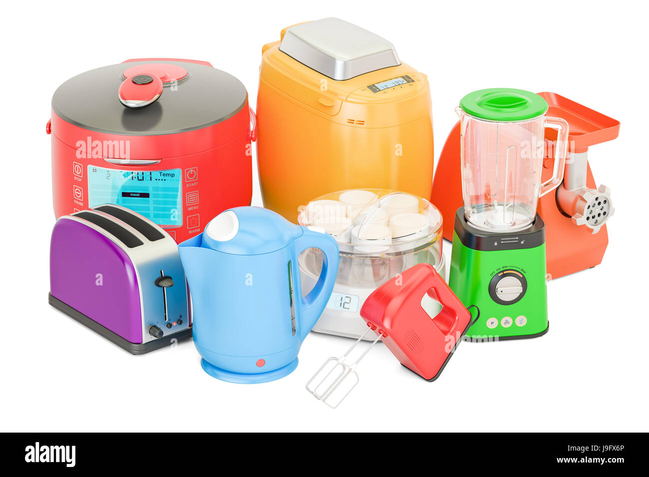 Set of colored kitchen home appliances. Toaster, kettle ...