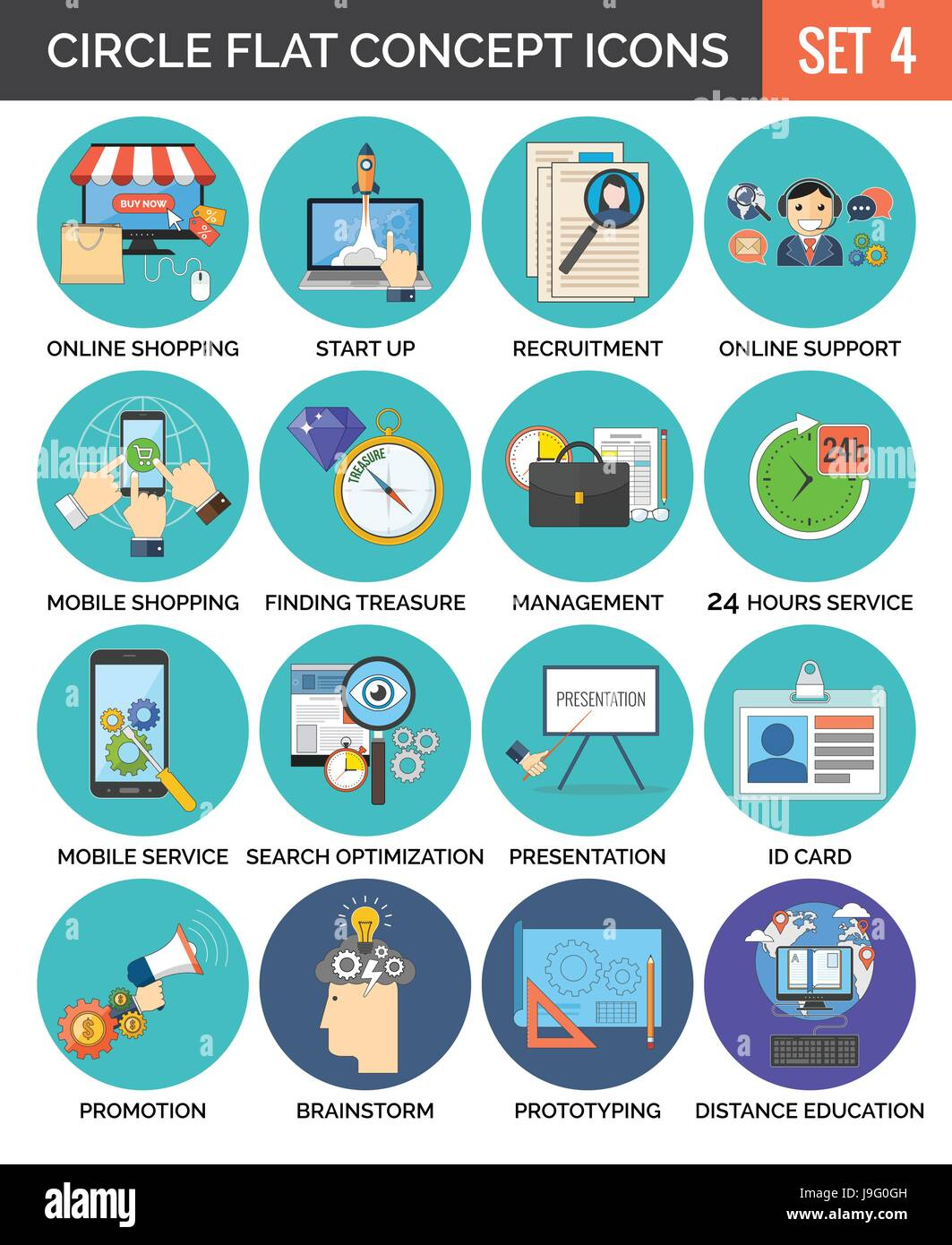 Circle Colorful Concept Icons. Flat Design. Set 4. Business, Finance ...