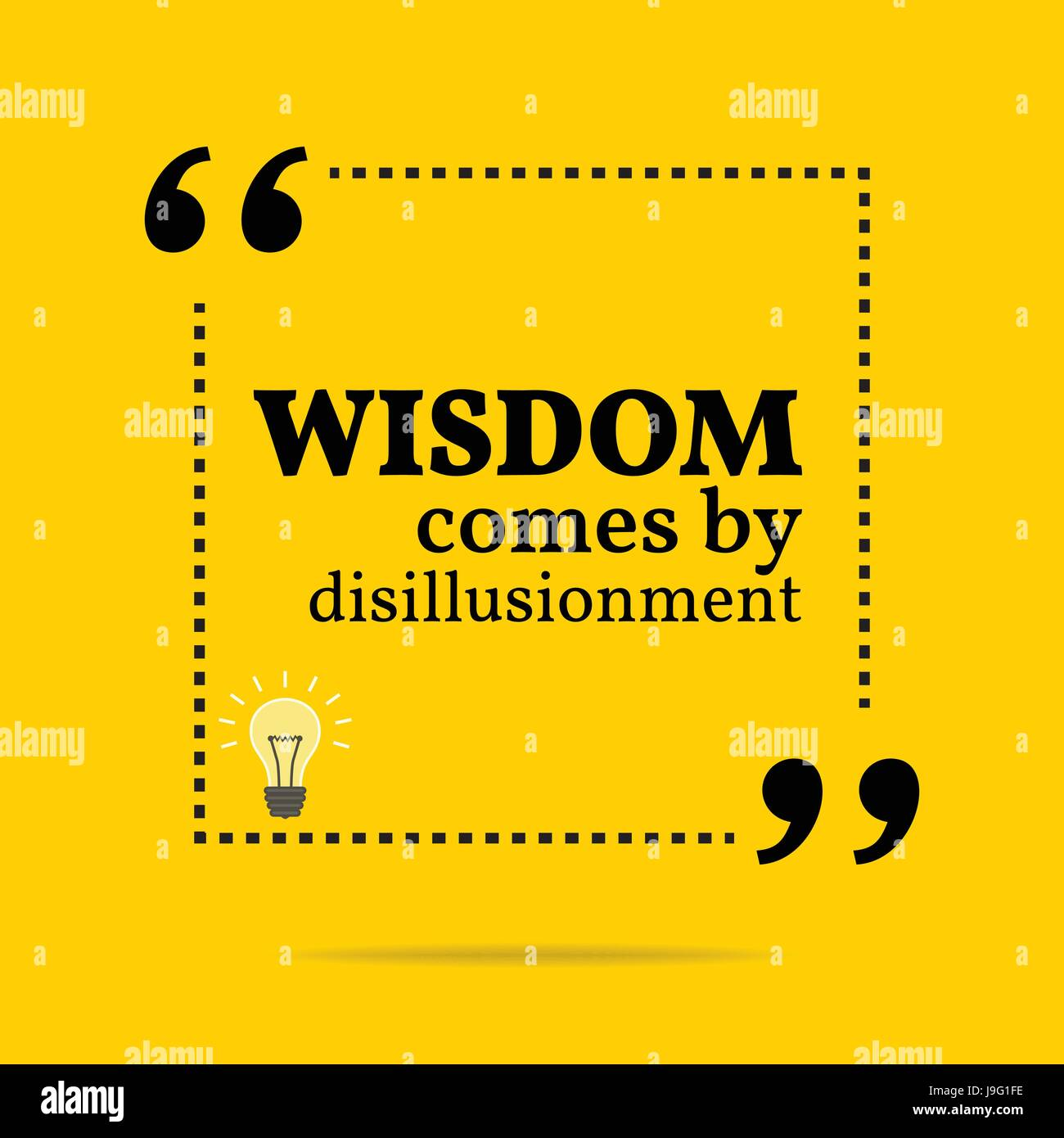 Inspirational motivational quote. Wisdom come by disillusionment. Simple trendy design. - Stock Vector