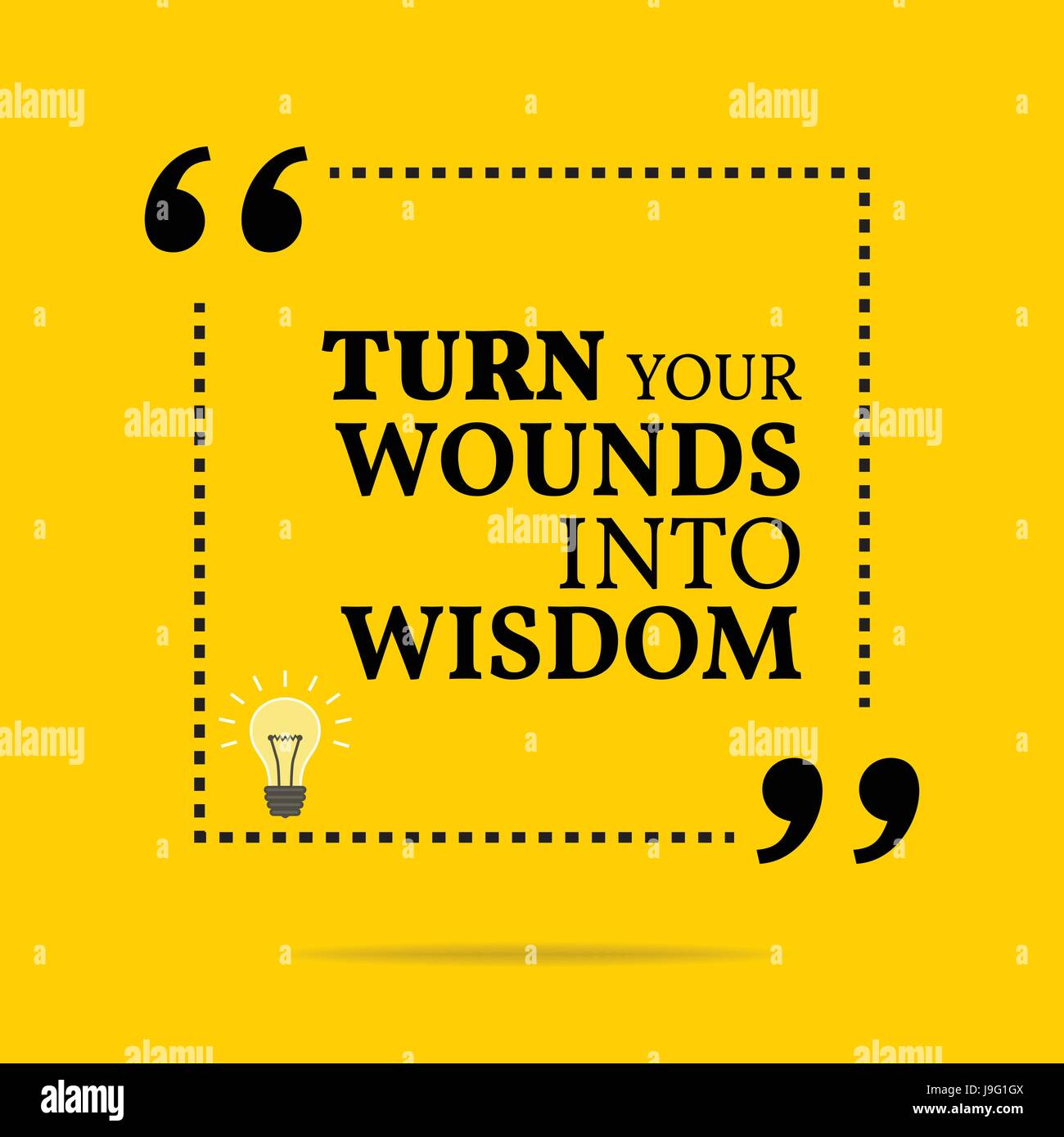 Inspirational motivational quote. Turn your wounds into wisdom. Simple trendy design. - Stock Vector