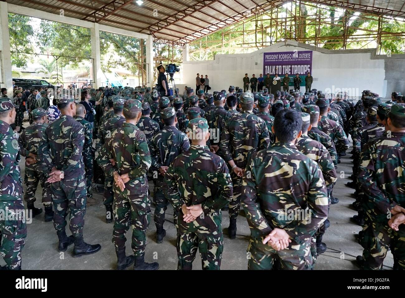 Philippine President Rodrigo Duterte addresses soldiers with Joint Task Force Sulu at Camp Teodulfo Bautista May Stock Photo