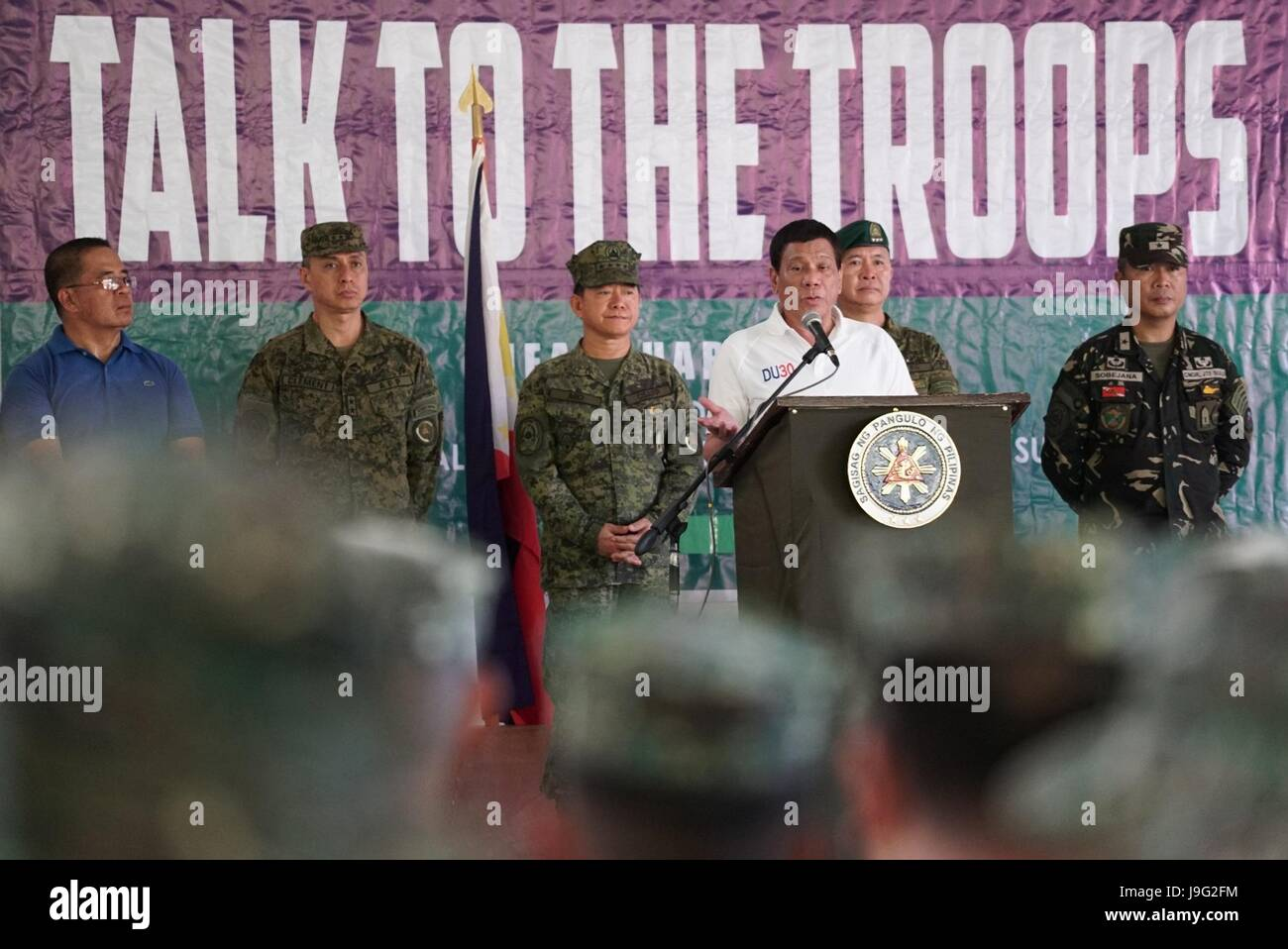Philippine President Rodrigo Duterte addresses soldiers with Joint Task Force Sulu at Camp Teodulfo Bautista May - Stock Image