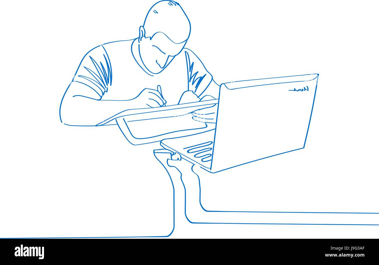 Young Hand Drawn Man Draw On Laptop Office Work Vector Stock