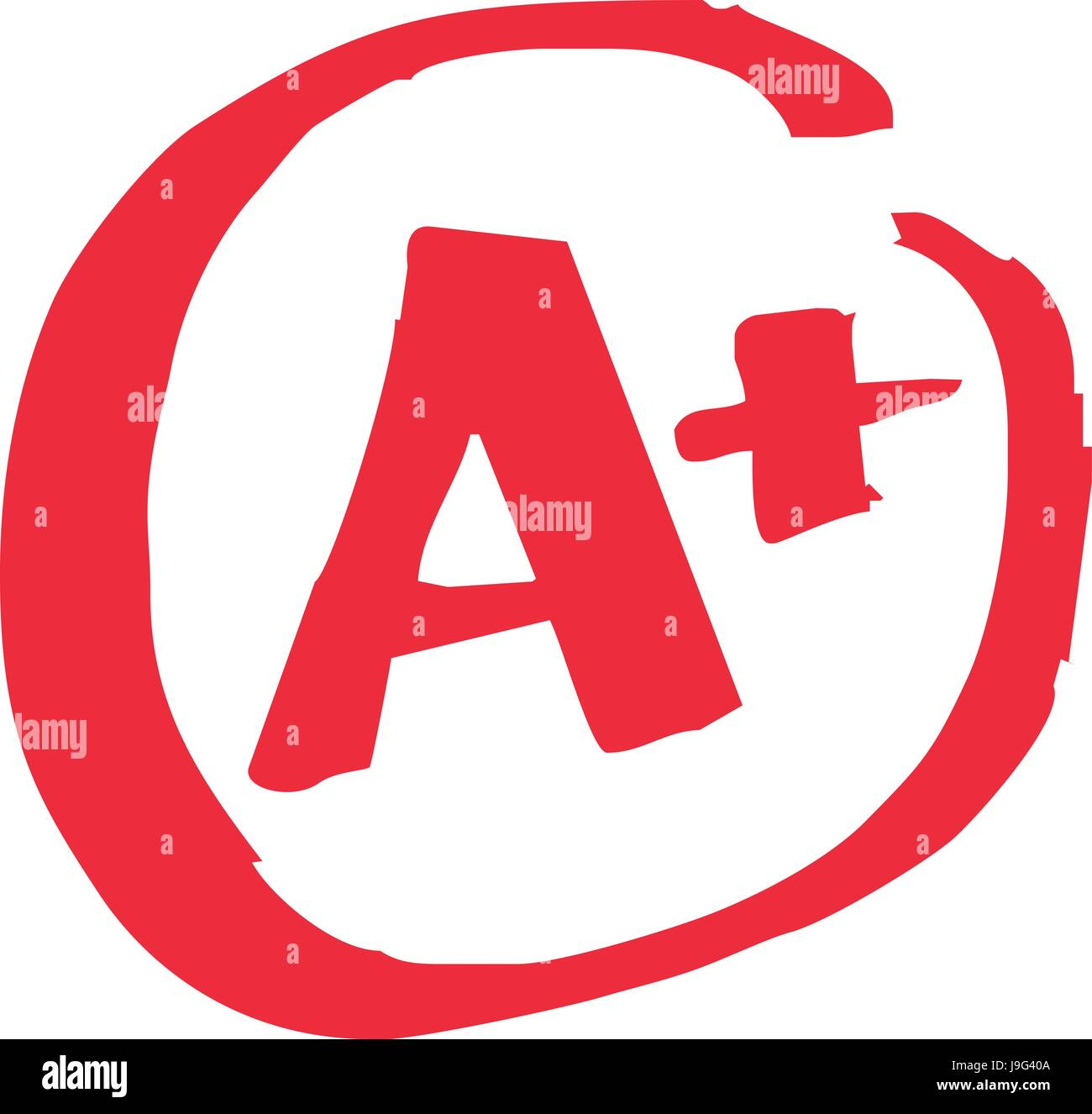 The top A+ grade for exam results in vector - Stock Image