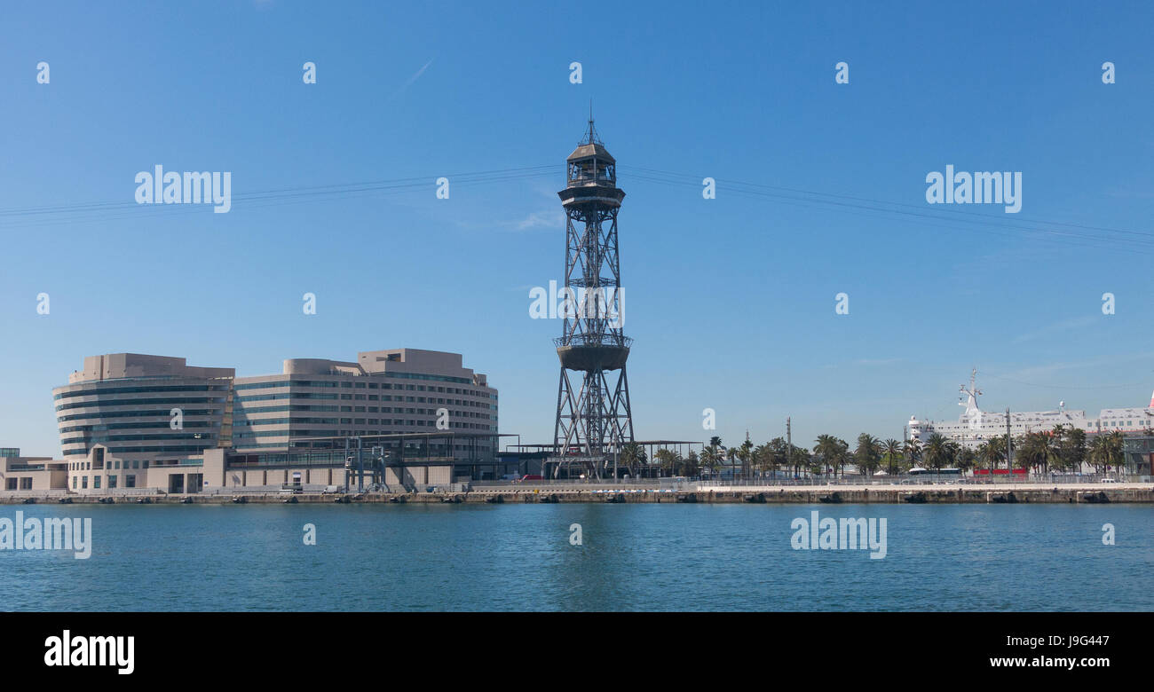 BARCELONA, SPAIN - MAY 16, 2017: the port of Barcelona, at the end of the Ramblas. In the photo, the World trade - Stock Image