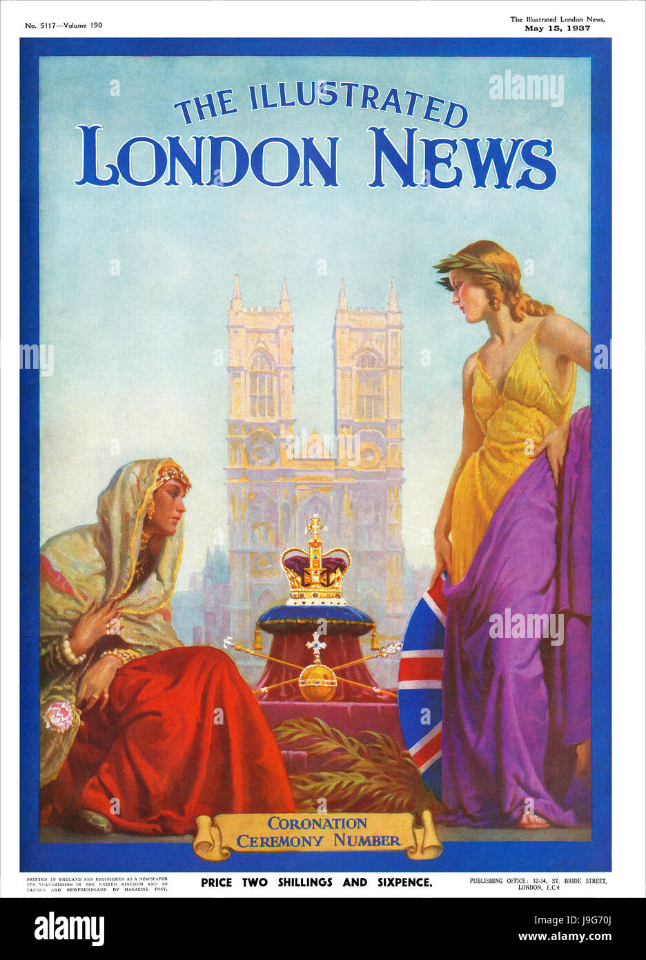 Front cover of The Illustrated London News for 15th May 1937, celebrating the coronation of King George VI. - Stock Image