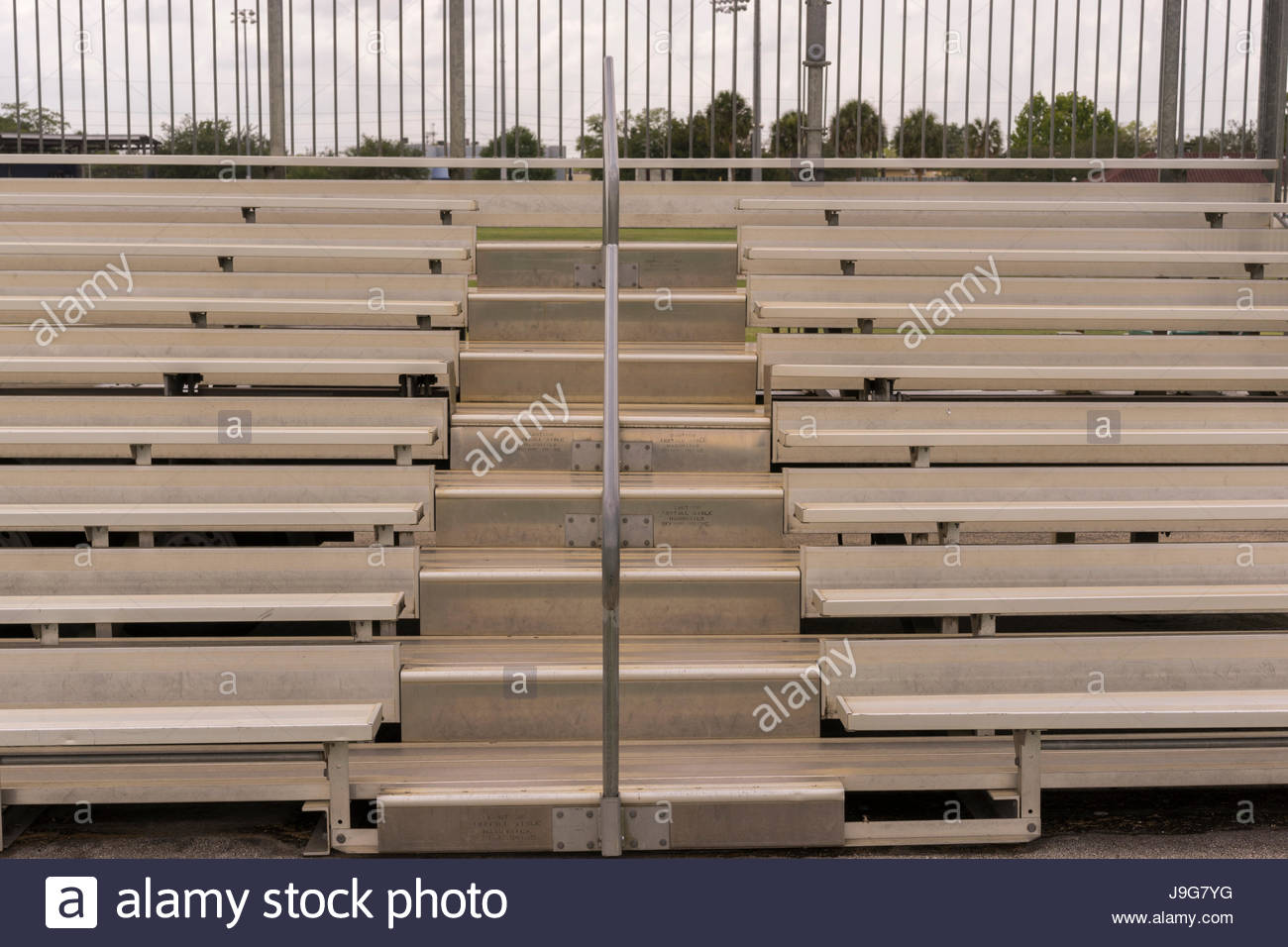 Bleachers Outdoors At A Football Field - Stock Image