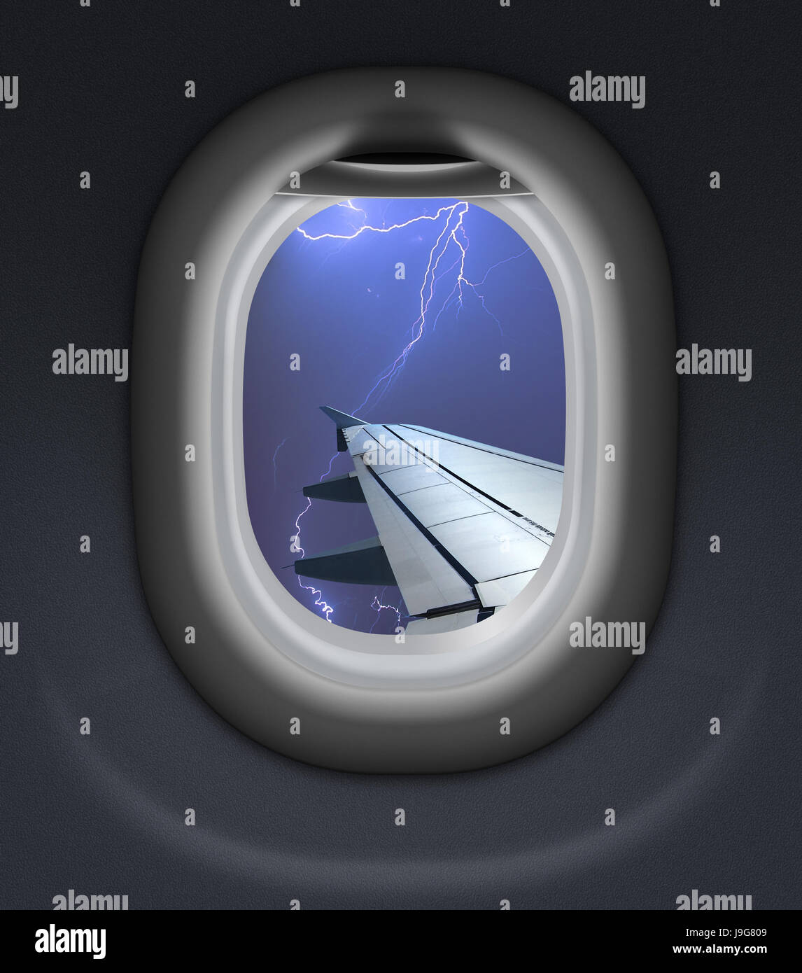 airplane window view in storm with thunderbolt 3d illustration Stock Photo