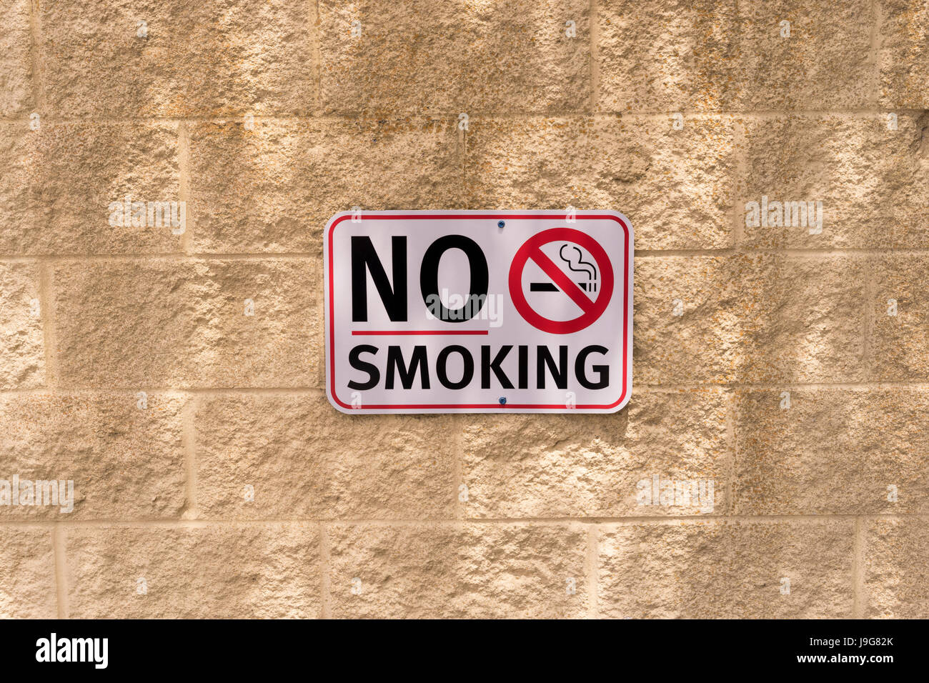 No Smoking Sign On A Wall Stock Photo