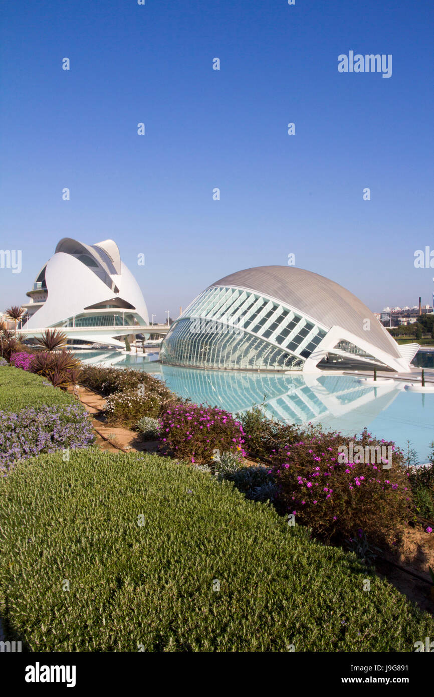 The futuristic City of Arts and Sciences is a sprawling cultural and entertainment complex that originated in 1998 - Stock Image