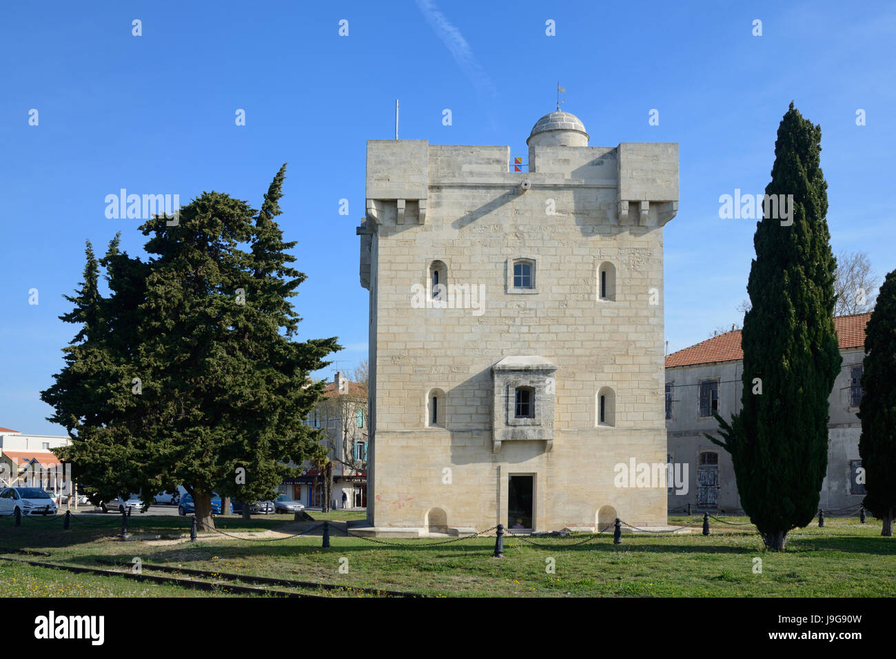 The Medieval Stone Tower or Saint Louis Tower (1737) at Port Saint Louis or Port-Saint-Louis-du-RhôneCamargue - Stock Image