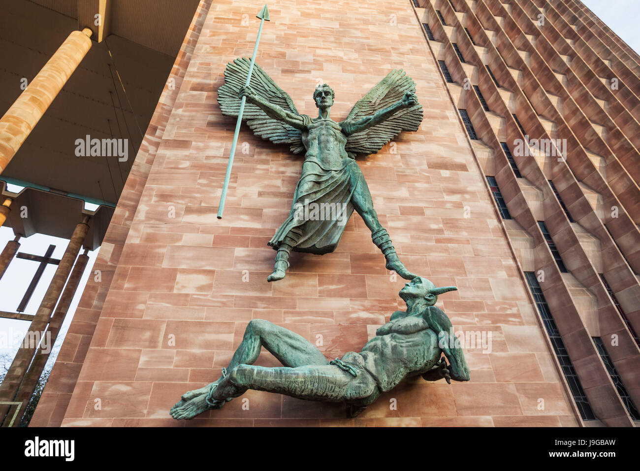 England, Warwickshire, Coventry, New Coventry Cathedral, Bronze Statue of St Michael and the Devil Sculptured by - Stock Image