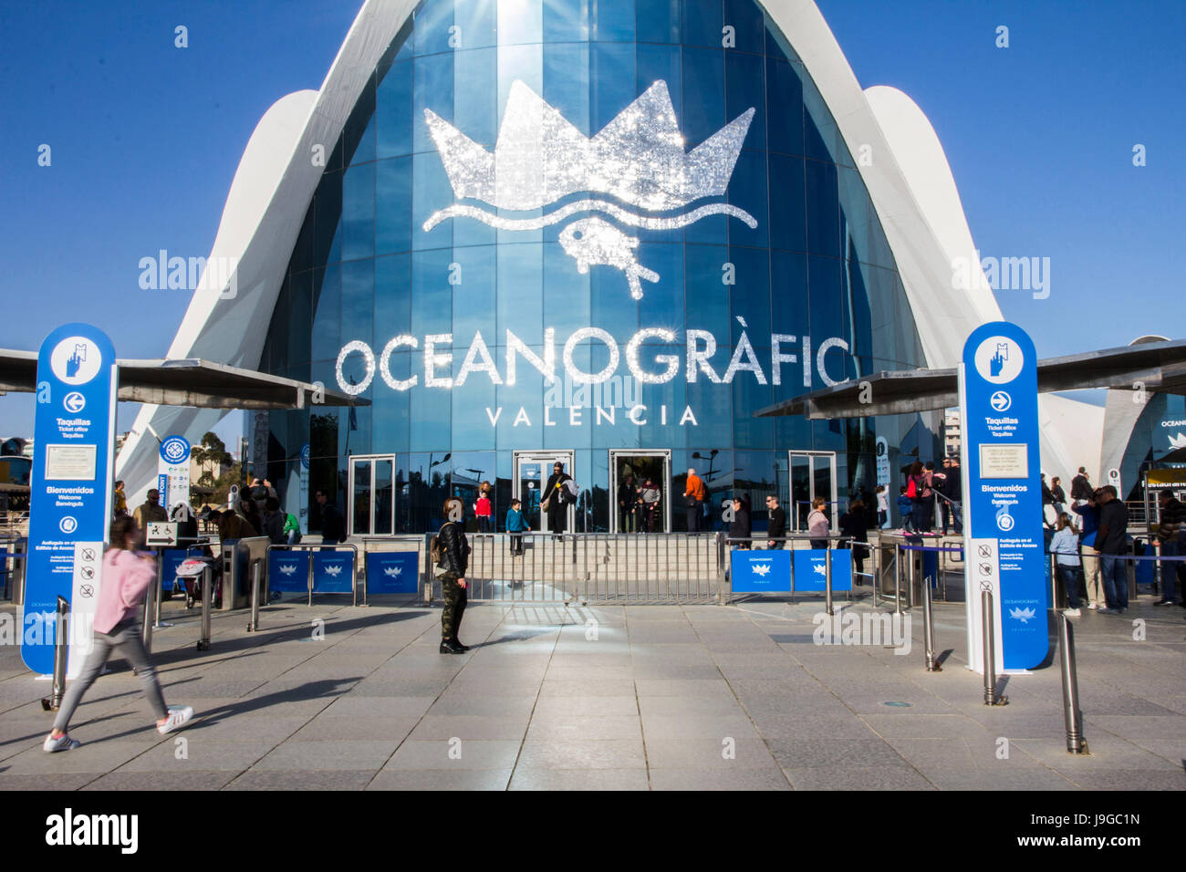 L'Oceanographic is an open-air oceanographic park designed by the late Spanish/Mexican Architect Felix Candela - Stock Image