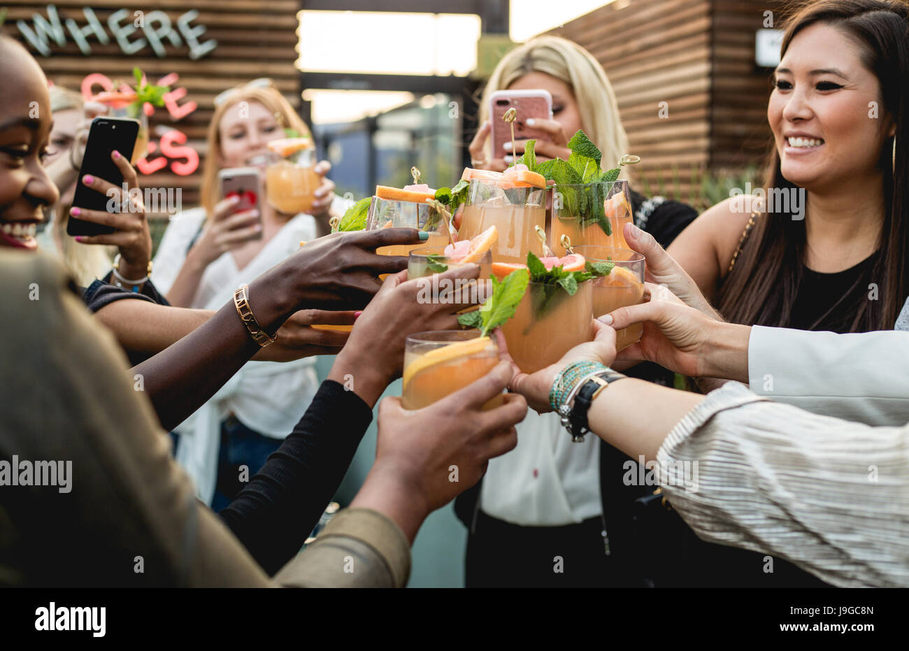 Millennial woman at a Casamigos cocktail party event in West Hollywood - Stock Image