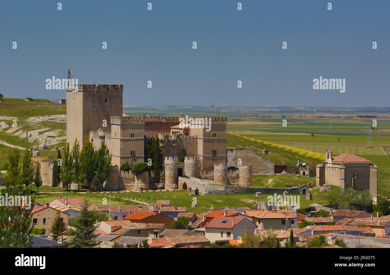 Spain, Castilla Leon Community, Palencia Province, Ampudia City, Ampudia Castle, - Stock Image