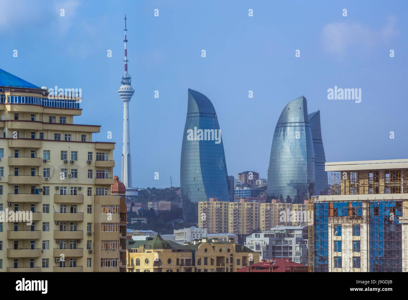 Azerbaijan, Baku City, Tele tower and the Flame Towers, - Stock Image