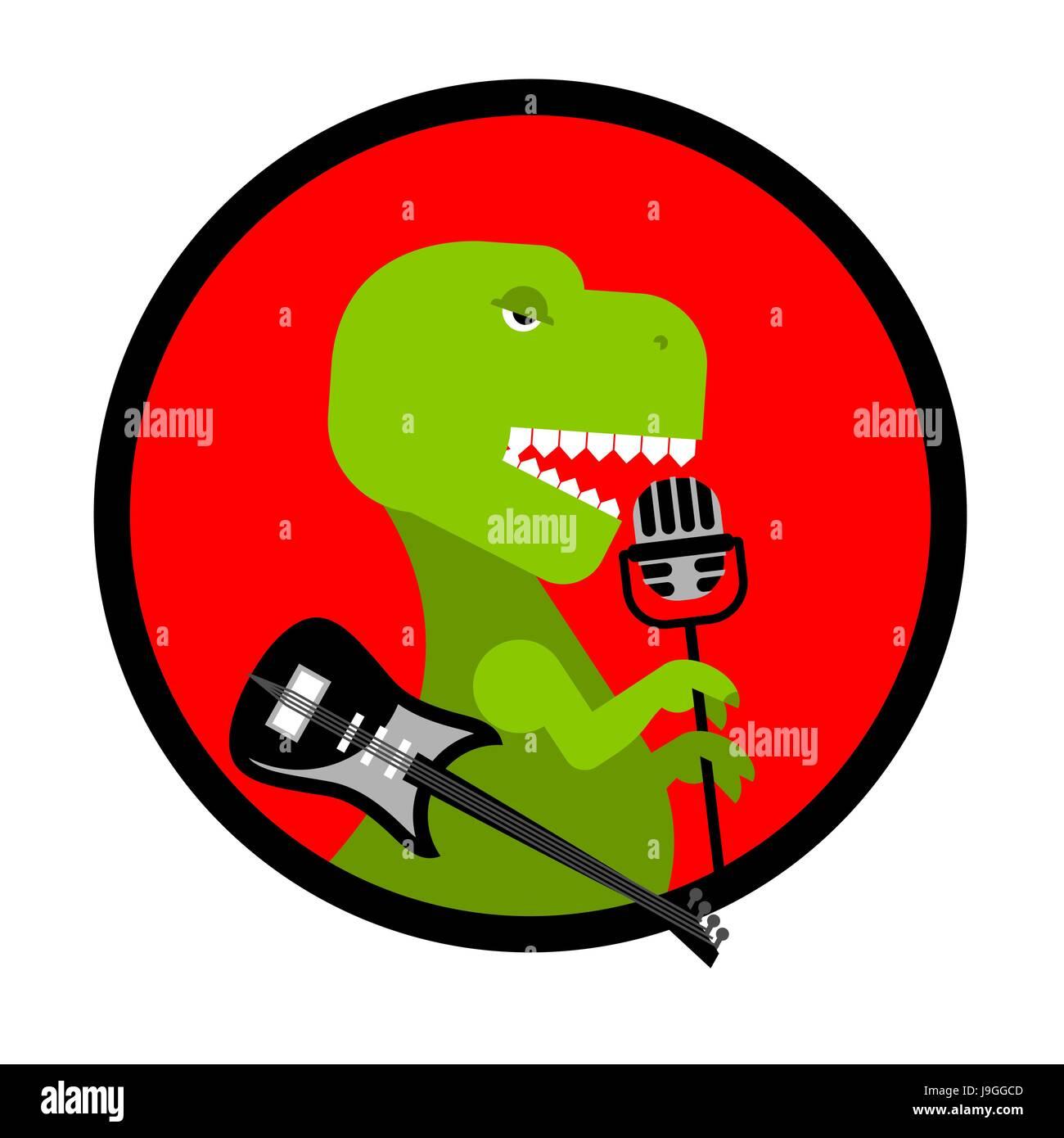 Tyrannosaurus Sings Song Dinosaur With Guitar Ancient Predator And Microphone