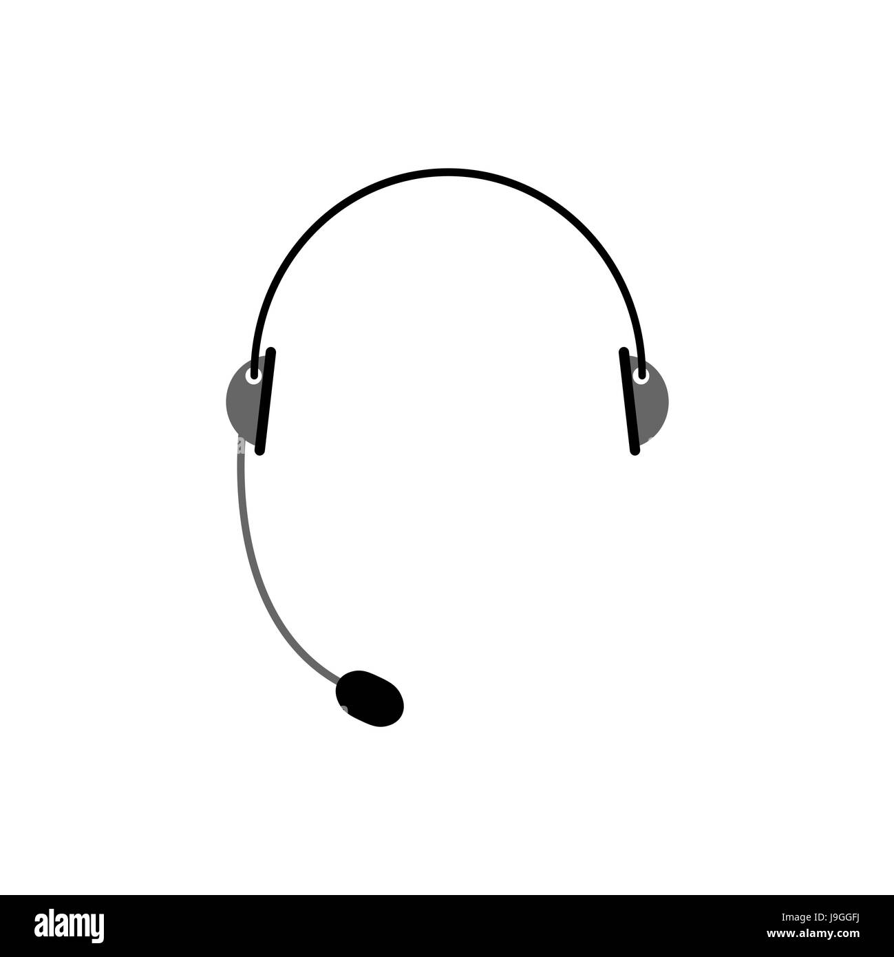 Headset isolated. Microphone and headphones on white background. Cal center accessory - Stock Image