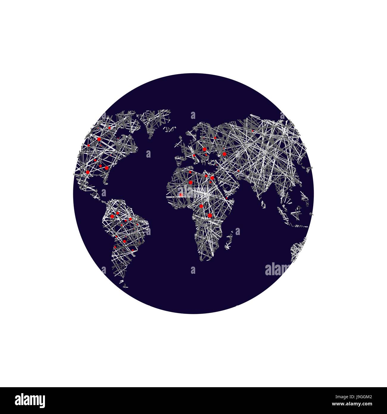 Black earth linear world map red lights capitals world atlas black earth linear world map red lights capitals world atlas means of communication and relationships on planet earth gumiabroncs Image collections
