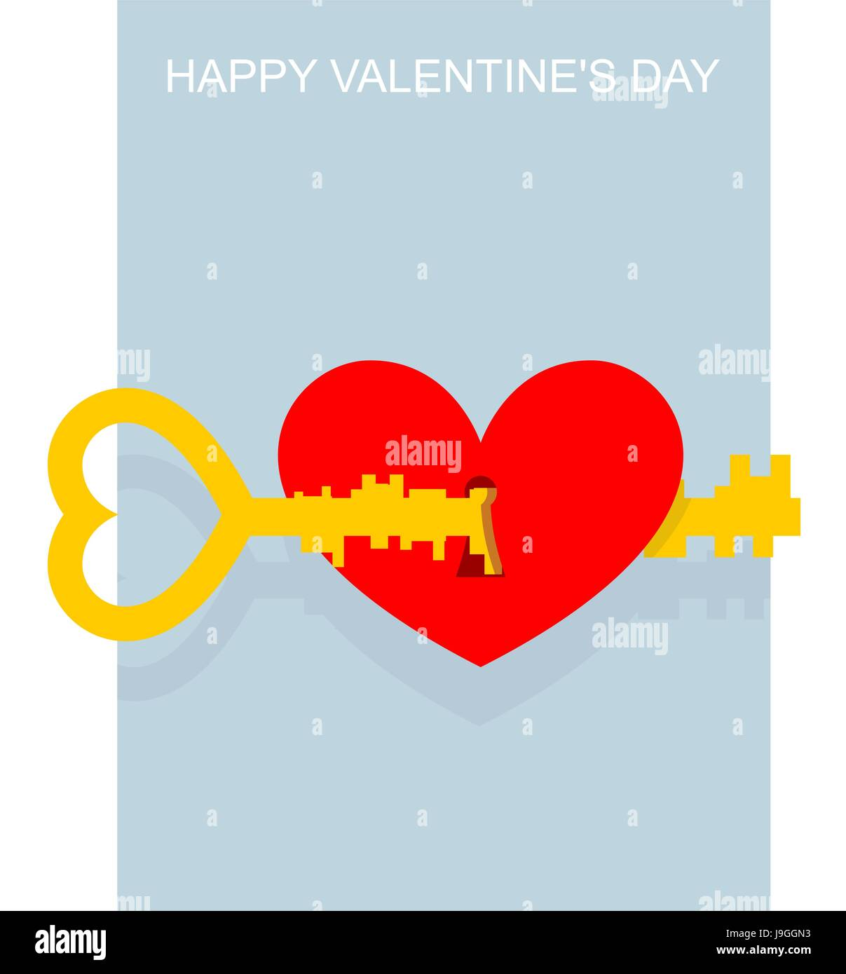 Valentines Day Key To Heart Large Complex Key Opens Keyhole In