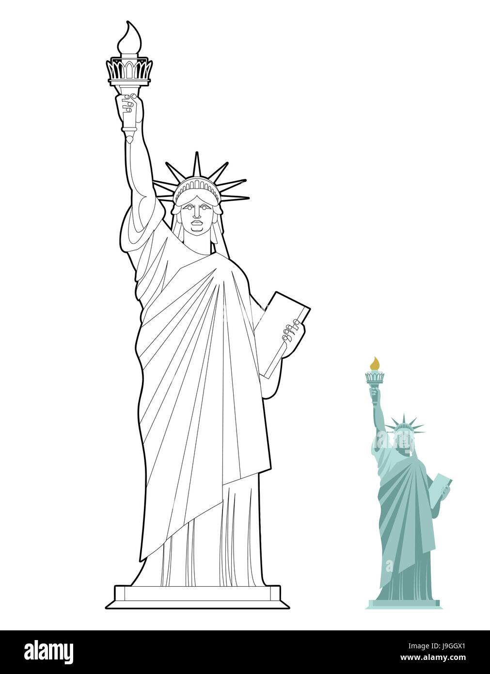 Statue Of Liberty Coloring Book Symbol Freedom And Democracy In USA Monument Architecture Linear Style Sculpture New York America