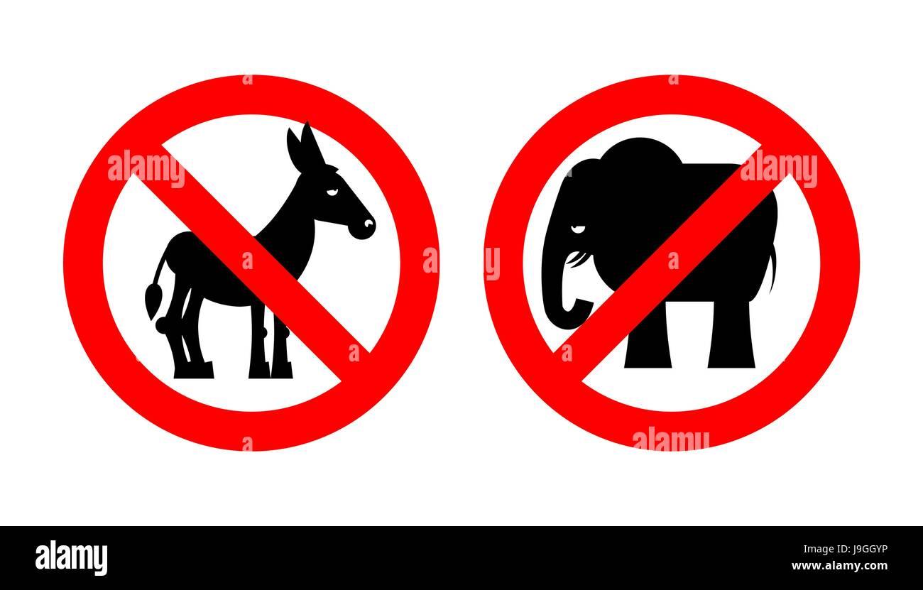 Ban Elephant Stop Donkey Prohibited Symbols Usa Political Parties