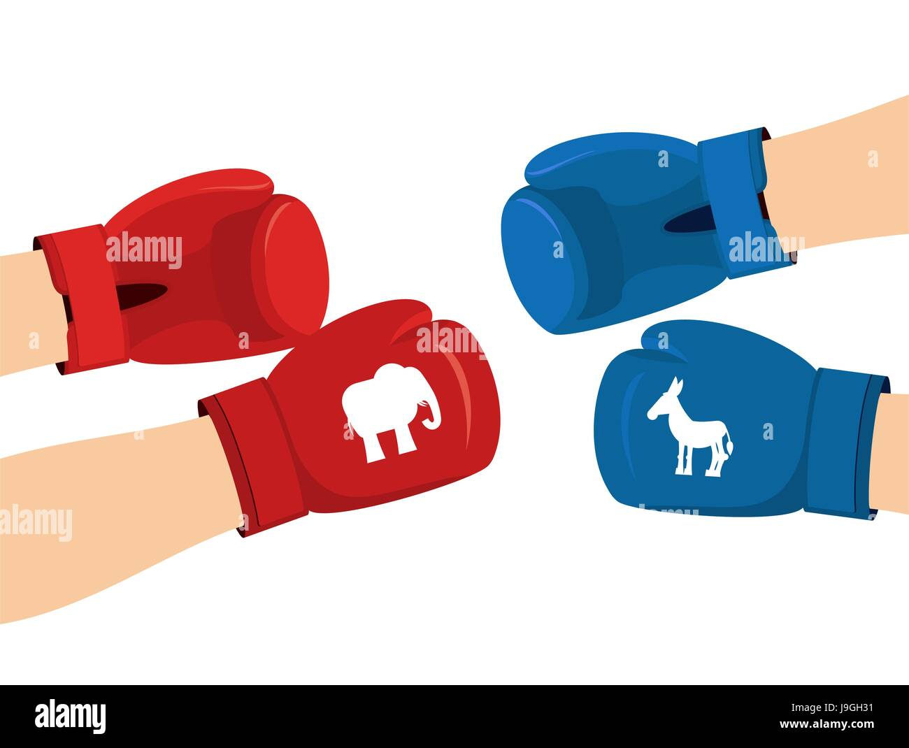Elephant And Donkey Boxing Gloves Symbols Of Usa Political Party